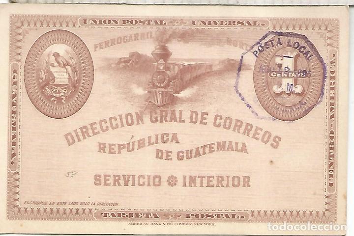 GUATEMALA ENTERO POSTAL 1895 FERROCARRIL RAILWAY TREN (Sellos - Historia Postal - Sellos otros paises)