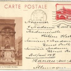 Sellos: FRANCIA ENTERO POSTAL 1936 PARIS FONTAINE MOLIERE AGUA WATER. Lote 288141393
