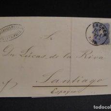 Sellos: ENVUELTA DE CARTA , SIN TEXTO INTERIOR - CIRCULADA DE ALEMANIA A SANTIAGO DE COMPOSTELA - AÑO 1877. Lote 288434158