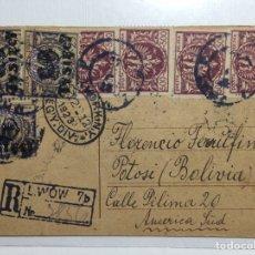 Sellos: TARJETA POSTAL CIRCULADA DE POLONIA A BOLIVIA VÍA NEW YORK 1923. Lote 293789288