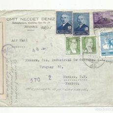 Sellos: CIRCULADA 1945 DE TURQUIA A MEXICO D F CON CENSURA. Lote 293865088