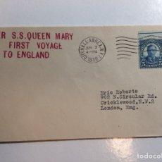 Sellos: SOBRE DEL PRIMER VIAJE DEL QUEEN MARY A INGLATERRA 1936. Lote 293865263