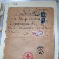 Sellos: SOBRE CIRCULADO DE ELEC A CRUZ ROJA COPENHAGE. I GUERRA MUNDIAL. 1916.. Lote 295041128