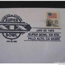Sellos: USA PALO ALTO 1985 STANFORD STADIUM XIX SUPER BOWL BASEBALL BEISBOL CANCEL COVER. Lote 297231713