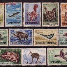 Sellos: RUMANIA 1438/49*** - AÑO 1956 - FAUNA - ANIMALES DE CAZA Y PESCA. Lote 26266649