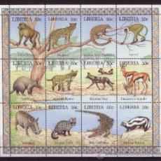 Sellos: LIBERIA 1434/45** - AÑO 1997 - FAUNA - ANIMALES SALVAJES. Lote 23412958