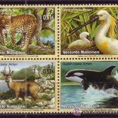 Sellos: NACIONES UNIDAS VIENA 319/22*** - AÑO 2000 - FAUNA - AVES - ANIMALES EN PELIGRO DE EXTINCION. Lote 22945407
