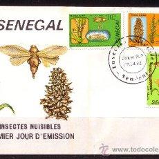 Sellos: SENEGAL SPD 570/72 - AÑO 1982 - FAUNA - INSECTOS NOCIVOS Y PLANTAS. Lote 21525871