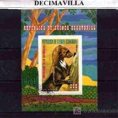 Briefmarken - FAUNA, GUINEA ECUATORIAL, FAUNA VARIA, L144, HOJA-BLOQUE USADA - 18269912
