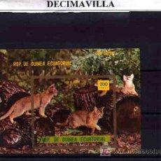 Briefmarken - FAUNA, GUINEA ECUATORIAL, GATOS, L139, HOJA-BLOQUE USADA - 18698668