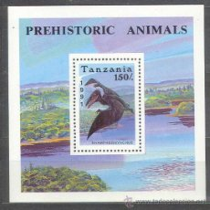 Sellos: TANZANIA - FAUNA - ANIMALES PREHISTÓRICOS - HOJA BLOQUE **. Lote 26037856