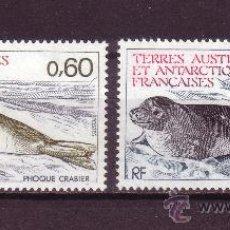 Sellos: TIERRAS AUSTRALES Y ANTARTICAS FRANC. 107/08** - AÑO 1984 - FAUNA MARINA - FOCA. Lote 177756240
