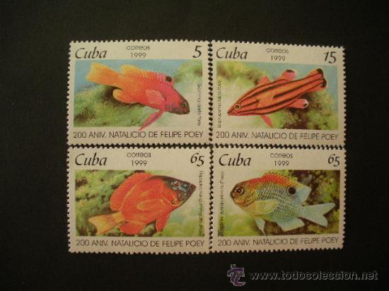 CUBA 1999 IVERT 3801/4 *** FAUNA - PECES - 2º CENTENARIO NACIMIENTO NATURALISTA FELIPE POEY (Sellos - Temáticas - Fauna)