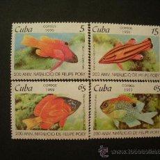 Sellos: CUBA 1999 IVERT 3801/4 *** FAUNA - PECES - 2º CENTENARIO NACIMIENTO NATURALISTA FELIPE POEY. Lote 28929224