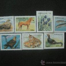 Sellos: AZERBAIJAN 1996 IVERT 243/9 *** FAUNA Y FLORA - MAMIFEROS, AVES Y PECES. Lote 29906084
