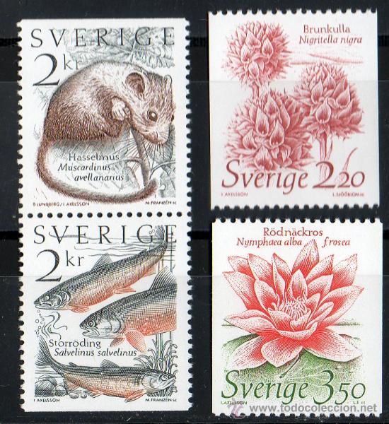 SUECIA AÑO 1985 YV 1304/07*** FAUNA Y FLORA - PECES - MAMÍFEROS - FLORES Y PLANTAS (Sellos - Temáticas - Fauna)