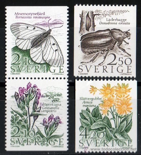 SUECIA AÑO 1987 YV 1406/09*** FAUNA Y FLORA - INSECTOS - FLORES Y PLANTAS (Sellos - Temáticas - Fauna)