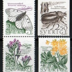 Sellos: SUECIA AÑO 1987 YV 1406/09*** FAUNA Y FLORA - INSECTOS - FLORES Y PLANTAS. Lote 30591177
