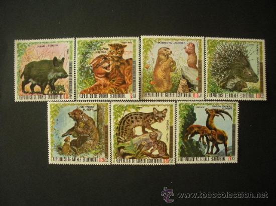 GUINEA ECUATORIAL 1976 IVERT 87 + AEREO 72 *** ANINALES DE EUROPA - FAUNA (Sellos - Temáticas - Fauna)