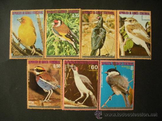 GUINEA ECUATORIAL 1976 IVERT 92 + AEREO 76 *** PAJAROS DE AFRICA - FAUNA - AVES (Sellos - Temáticas - Fauna)