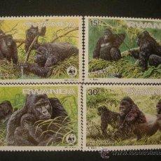 Sellos: RWANDA 1985 IVERT 1173/6 *** FAUNA - GORILAS - ANIMALES EN PELIGRO DE EXTINCIÓN. Lote 50273561