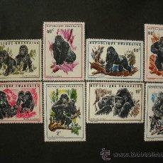 Sellos: RWANDA 1970 IVERT 370/7 *** FAUNA - GORILAS DE LAS MONTAÑAS. Lote 50273674