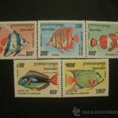 Sellos: CAMBOYA 1995 IVERT 1292/6 *** FAUNA MARINA - PECES. Lote 36620172