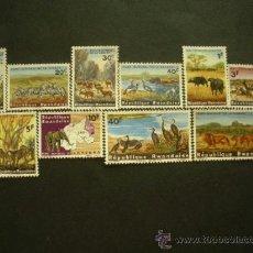 Sellos: RWANDA 1965 IVERT 98/107 *** FAUNA - PARQUE NACIONAL DE LA KAGERA. Lote 38691594