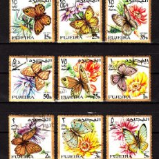 Timbres: FUJEIRA AÉREO 12 - AÑO 1967 - FAUNA - INSECTOS - MARIPOSAS. Lote 39078654