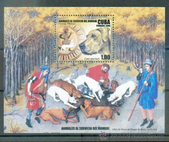 PERROS.- HOJA BLOQUE DE CUBA.- ANIMALES AL SERVICIO DEL HOMBRE (Sellos - Temáticas - Fauna)
