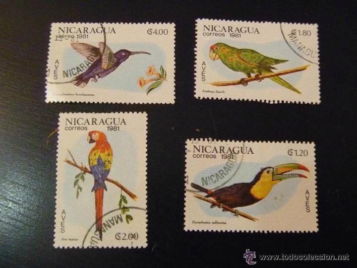 LOTE DE 4 SELLOS DE NICARAGUA : PAJAROS, AVES (Sellos - Temáticas - Fauna)