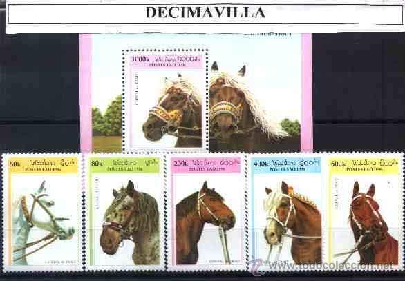 LAOS, CABALLOS, 1996, SERIE + HOJA-BLOQUE (Sellos - Temáticas - Fauna)