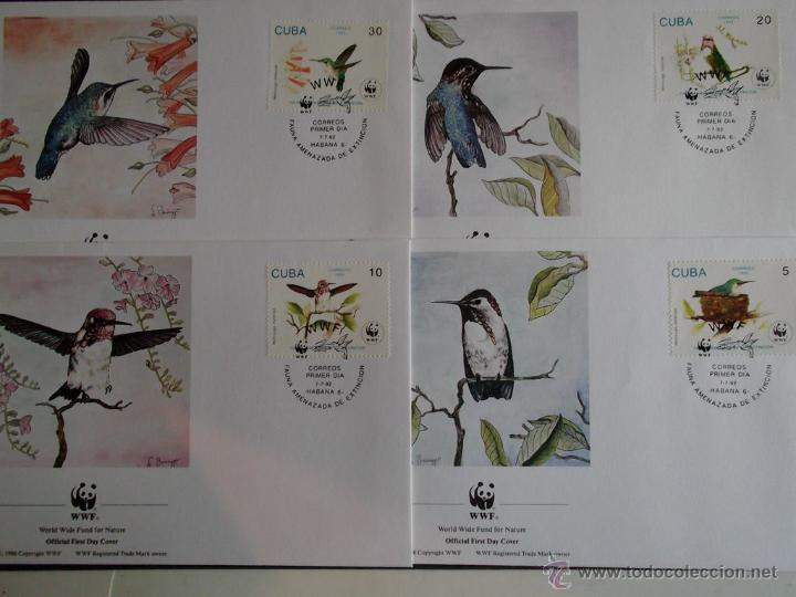 WWF. CUBA. FDC 3224/27 COLIBRIS (MELLISUGA HELENAE). 1992 (Sellos - Temáticas - Fauna)