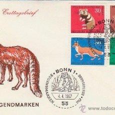 Sellos: ALEMANIA Nº 387/90, ANIMALES DE PIEL VALIOSA, PRIMER DIA DE 4-4-1967. Lote 48999771