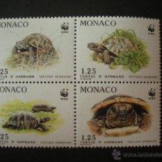 Sellos: MONACO 1991 IVERT 1805/8 *** PROTECCION DE LA NATURALEZA - ESPECIES PROTEGIDAS - FAUNA - TORTUGAS. Lote 50092480