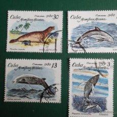 Sellos: CUBA. 2197/2200 MAMÍFEROS MARINOS: TURSIOPS TRUNCATUS, MEGAPTERA, ZIPHIUS Y MONACHUS TROPICALIS. 198. Lote 288587408