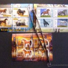 Sellos: REPUBLIQUE DU TCHAD + RWANDA + MALAWI 2013 FAUNA FAUNE HORSE CABALLOS NUEVOS ** MNH. Lote 53876017