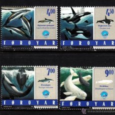 Sellos: FEROE 1998 IVERT 330/3 *** FAUNA MARINA - AÑO IINTERNACIONAL DEL OCEANO - CETACEOS. Lote 54513272