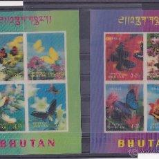 Sellos: BHUTAN.1968.MARIPOSAS/FLORES.Y.-HB-14/15.NUEVAS.. Lote 54665927