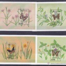 Sellos: BHUTAN.1990.MARIPOSAS/FLORES.Y.-HB-240/241-314/315?.NUEVAS.. Lote 54666095