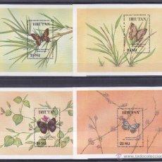 Sellos: BHUTAN.1990.MARIPOSAS/FLORES.Y.-HB-321/322-324/325?.NUEVAS.. Lote 54666118