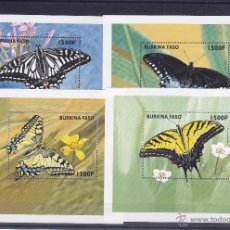 Sellos: BURKINA FASO.1998.MARIPOSAS/FLORES.Y.-HB-68/69-70/71.NUEVAS.. Lote 54674575
