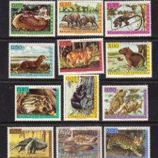 Sellos: VENEZUELA 668/73 Y AEREO 778/83** - AÑO 1963 - FAUNA SUDAMERICANA - ANIMALES SALVAJES. Lote 56090916