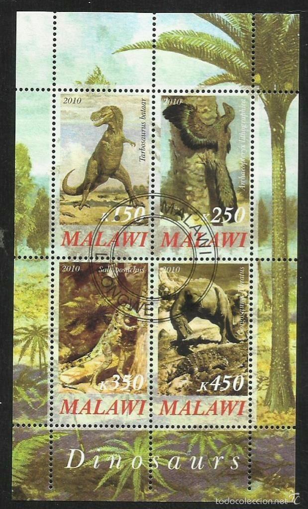 MALAWI 2010 HOJA BLOQUE SELLOS FAUNA PREHISTORICA- DINOSAURIOS- DINOSAURS- DINOSAURIO (Sellos - Temáticas - Fauna)