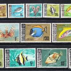 Sellos: TANZANIA 19/32** - AÑO 1967 - FAUNA MARINA - PECES . Lote 56288088