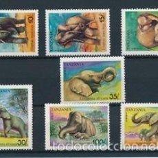 Sellos: TANZANIA 1991 IVERT 796/802 *** FAUNA - LOS ELEFANTES. Lote 57105954