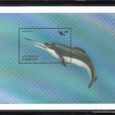 Timbres: ANTIGUA HB 421** - AÑO 1999 - FAUNA - ANIMALES PREHISTÓRICOS - EURHINODELPHIS. Lote 58456633