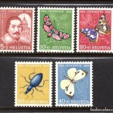 Sellos: SUIZA 581/85** - AÑO 1956 - FAUNA - INSECTOS - MARIPOSAS - PRO JUVENTUD. Lote 61531256