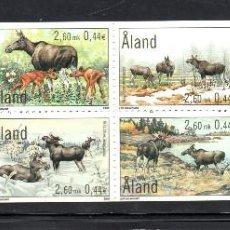 Sellos: ALAND CARNET 171** - AÑO 2000 - FAUNA - ANIMALES - ALCES. Lote 62930768