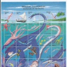 Sellos: PALAU 1993 - MONSTRUOS DEL PACÍFICO, PREHISTÓRICOS Y LEGENDARIOS - DINOSAURIOS SELLOS - SC 318. Lote 85039380